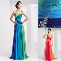 Wholesale 2014 Hot Sale Formal Women Gown Colorful Beads Blue Green Floor Length Long Chiffon Summer Evening Dresses Vestido De Festa