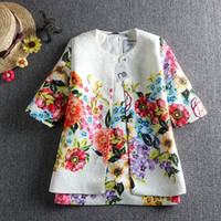 printing - 2015 Hot Sale Children Outifts Girls Spring Autumn Fashion Floral Sets Kids European Style Girls Printed Trench Coat And Sundress Sets