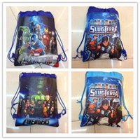 Wholesale 100pcs In Stock Drawstring Bags Cartoon The Avengers Superhero Backpack Kids School Bag Sports Handbag Children Party Gift