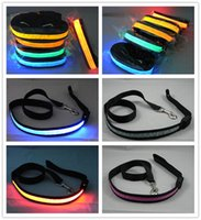 webbing belt - Black Webbing LED Flashing Lead LED Dog Leash Pet Rope Nylon Belt Harness Dog Training Lead Collar Rope Pet Dog Supplies Colors Available