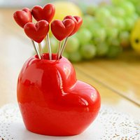 Wholesale 5pcs Stainless Steel Loving Heart Shaped Fruit Forks high quality Creat Dining Tools Set Dining Tool Tableware Household Forks