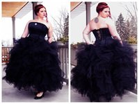 autumn party themes - Black Bridal Gowns Gothic Ball Gown Wedding Dresses strapless Corset Top Halloween Theme Full Tulle Skirt Plus Size Prom Evening Party dress