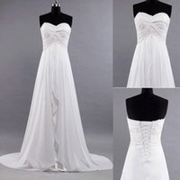 best beach photos - Best Selling Simple Beach Wedding Dresses Ruffles Sweep Train Strapless Sweetheart A Line Empire Backless Chiffon Bridal Gowns Cheap