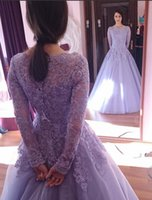 ball wedding theme - 2015 Spring Crystals Long Sleeves Beaded Applique Scoop Tulle Ball Gown Wedding Dresses Colorful Lilac Wedding Dress Purple Theme Gowns