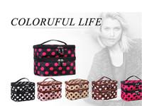 Wholesale Makeup Cosmetic Bags Toiletry Retro Dot Beauty Wash Case Organizer Holder Handbag For Travel