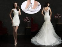 Wholesale Amelia Sposa Lace Mermaid Wedding Dresses Short Knee Length Cap Sleevs Bridal Gowns with Appliqued Detachable Train