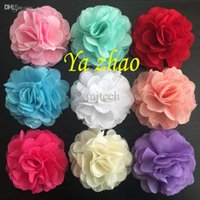 Cheap Wholesale-Fashion Chiffon Lace Charming Flowers,Fabric Flower for Headbands, Clothing, Shoes 48pcs lot , 12color IN STOCK, free shipping