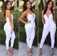 Wholesale 2015 New women Jumpsuits deep V Neck fashion sexy women Rompers white