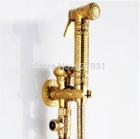 bidet style toilets - Deluxe European Style Wall Mounted Golden Toilet Spray Faucet Solid Brass Women Bidet Faucet
