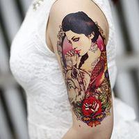 beautiful rose tattoos - X22cm Original tattoo stickers waterproof big beautiful flower owl wolf bigger arm rose sexy tattoo stickers