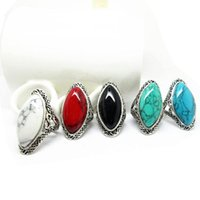 Wholesale New Vintage Jewelry Brand New Women s Silver Rings With Four Color Turquoise Gemstone Silver Of Rings Rose Bling Ring