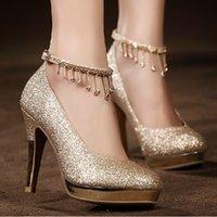 diamond wedding shoes - Bridal Shoes Diamond Wedding Shoes Red High heeled Shoes Waterproof Shoes Wedding Shoes Bridesmaid Shoes Gold Round