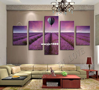 air balloon pictures - Beautiful purple lavender original and hot air balloon Panels Set HD Art Canvas Print Painting Artwork Wall Picture Unframed