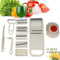 Wholesale 11pieces set multi functional hand kitchen knives fruit vegetable knife peeler shredder shred tool potato slicer CFSQ P