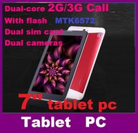 Wholesale Dual SIM G Tablet PC MTK6572 Dual Core Inch Bluetooth GPS Phablet Phone call Tablet pc Android with flash dhlfree