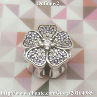 Wholesale 925 Sterling Silver Primrose Pave Charm with Pink and Purple Cz For Women Famous Brand DIY pandora european style Bracelets necklace DF573
