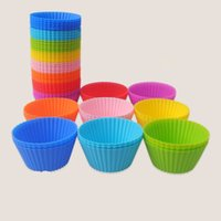 Wholesale 7cm Round shape Silicone Muffin Cases Cake cups Cupcake Liner Baking Mold Bakeware Kitchen Dining Bar