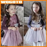 Al por mayor-otoño Lady Agregar Velvet Flower Bud Seda Ropa de invierno vestido de la princesa de manga larga Invierno Primavera Kids alta calidad