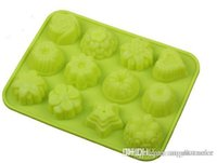 Wholesale factory Flower shape Muffin case Candy Jelly Ice cake Silicone Mould Mold Baking Pan Tray