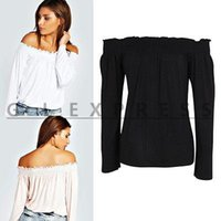 off the shoulder tops - New Arrival Women Off The Shoulder Low Back Peasant Long Bell Sleeves Blouse Crop Tops