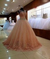 Wholesale 2015 Quinceanera Dresses Cheap Ball Gowns Sheer Quinceanera Gowns Prom Dresses Illusion Neck Sweet Ball Gowns with Crystals Rhinestones