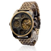 al por mayor doble horario del reloj-Relojes de lujo Oulm Hombre Reloj de Oro Vintage Hombres de acero completo Cuarzo Militar Reloj analógico de doble zona horaria Reloj Reloj de Hombre Reloj