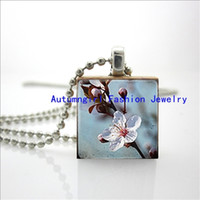 beautiful glass tile - Scrabble Game Tile Jewelry Cherry Blossom Necklace Beautiful Flowers Ball Chain Gifts For Her E