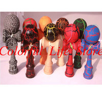 Wholesale FEDEX Shipping Full Crack Kendama Sword Jade Fully Painted Kendama Ball Japanese Traditional Wooden Toy