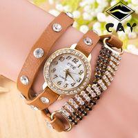 chain metal dress - Women Dress Watches Luxury Ladies Black White Diamond Manual Watch Gold Metal Chain Quartz Leather Watches