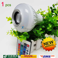 Wholesale NEW LED Wireless bluetooth W LED speaker bulb Audio Speaker E27 Colorful music playing Lighting With Keys IR remote Control