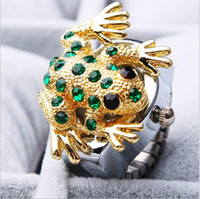 animations quartz watch - Hot sales Fashion quartz Unique design charming diamante jewelry Animation cartoon frog pattern woman and men Ring watches