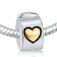 Venta al por mayor del corazón del oro del encanto de Clip 925 encantos de plata de ley europea apta del grano Pandora Cadena Serpiente pulsera DIY Joyería