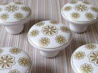 other bathroom door handle - Gold Flower Knob Dresser Knobs Drawer Knob Pulls Handles Kitchen Cabinet Door Knobs Pull Handle Ceramic White Bathroom Decorative Hardware