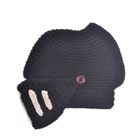 beanie with mask - Winter Warm Roman Knight Helmet Hat Cotton Acrylic Knitted Hats Set With Masks Solid Color Stripe Crochet Caps Windproof Beanies Cap H119