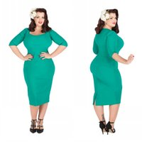 Wholesale Plus Size Formal Evening Gowns Sweetheart Neckline Sheath Tea Length Long Sleeves Emerald Green Plus Size Mother of the Bride Dresses