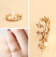 Wholesale Fashion Women Gold Plated Crystal Rhinestone Crown Ring Finger Jewelry One