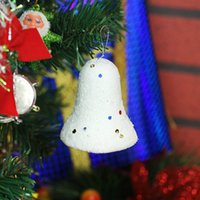 Wholesale 2015 new hot sell White Foam Santa Snow Bells Christmas Tree Ornaments Indoor Christmas Decoration Drop Shipping