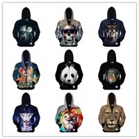 Wholesale New D Hoodies Autumn and winter animal Tiger dog Panda deer prints Men s hooded zipper cardigan Men s sweater Creed style sport thin jacket