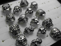 Wholesale 30pcs Skull Skeleton Gothic Alloy Rings Punk style rings for mens