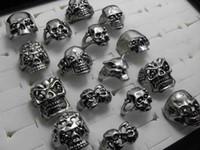 gothic punk - 30pcs Skull Skeleton Gothic Alloy Rings Punk style rings for mens