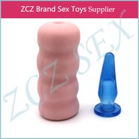 Wholesale ZCZ Silicon Vagina And medical silicone anal plug Cylindrical man Sex masturbatorl pocket pussy Toys products for men DX029