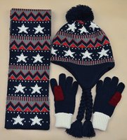 Wholesale Children boy autumn winter warm hat Students ZhongTong big child the five star thick hat scarf gloves three piece suit
