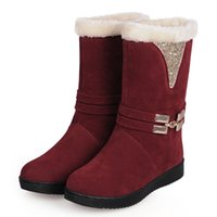 ladies leather boots - New style snow boots for women warm winter boots fashion boots buckle boots glitter boots Christmas gift black boots for lady A2466