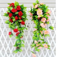 attic air conditioning - Simulation flowers rose vine Air conditioning pipes attic decoration flower vine Rattan vines F05