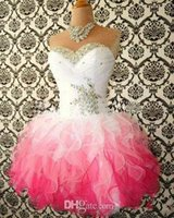 Cheap 2015 Hot Sale Pink And White Cute Homecoming Dresses Ball Gowns Corset tie Back Graduation Dress Short Prom Dress Cocktail Gowns No Sleeve