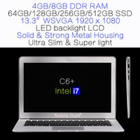 DHL-en-Stock 13.3inch Intel i7 Quad core 8gb RAM 512GB disque dur SSD ordinateur portable rétro-éclairage LCD Win7 / Win8 ordinateur portable ultra mince (C6 + i7)