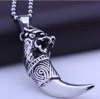 wolf jewelry - Fine Quality Brand New Genuine Titanium L Stainless Steel Dragon Lion style Wolf Tooth shape Pendant Necklace Jewelry