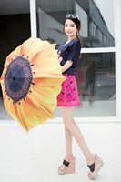 barometer rain - The new Japanese and Korean manual metal sunflower painting creative barometer three folding umbrella sun umbrella