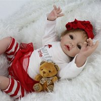 Cheap 22 Inch Silicone Reborn Baby Dolls Real Look Baby Alive Soft Girl Doll Christmas Toys Gift