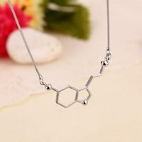 alloy structure steel plates - Science students Dopamine molecule necklace The chemical structure of molecules jewelry stainless steel jewelry necklace